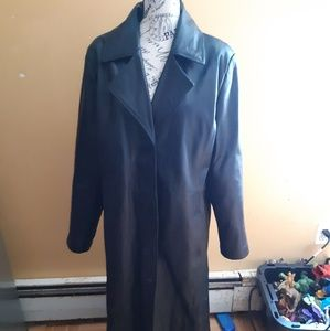Vintage faux leather trench coat